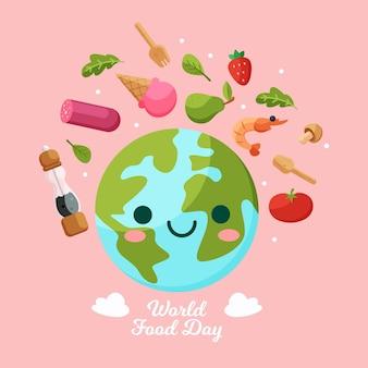 Światowy dzień jedzenia z uśmiechniętą ziemią
