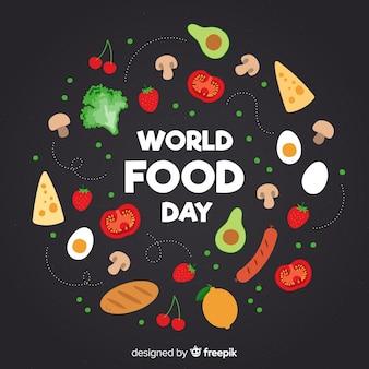Światowy dzień jedzenia z żywnością w płaskiej konstrukcji