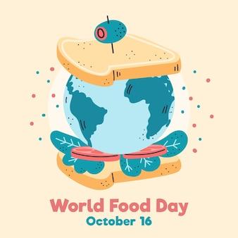 Światowy dzień jedzenia ziemia jako kanapka