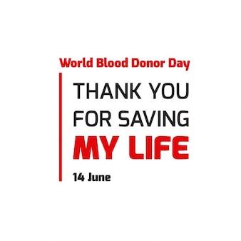Światowy dzień krwiodawcy dziękuję za uratowanie mi życia plakat