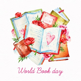 Światowy dzień książki akwarela
