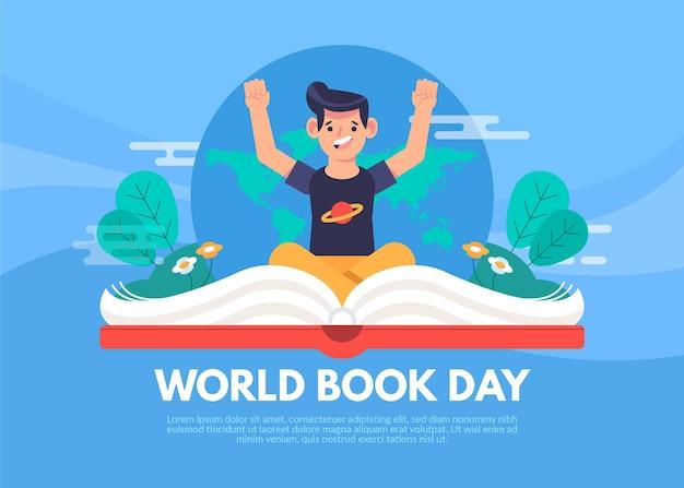 Światowy dzień książki ilustracja z człowiekiem i otwartą książką