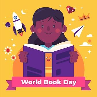 Światowy dzień książki ilustracja z kobietą, czytanie książki