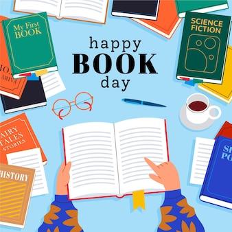 Światowy dzień książki ilustracja z książkami