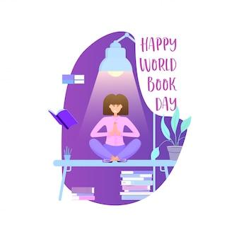 Światowy dzień książki, plakat świąteczny - płaska konstrukcja.