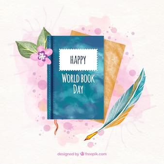 Światowy dzień książki tło w stylu przypominającym akwarele