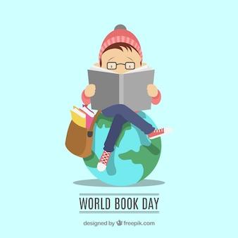 Światowy dzień książki tło z czytelniczym mężczyzna