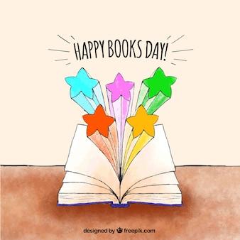 Światowy dzień książki tło z otwartą książką i kolorowe gwiazdki