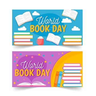 Światowy dzień książki transparent kolekcja szablon koknept