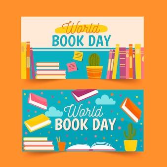 Światowy dzień książki transparent kolekcja szablon projektu