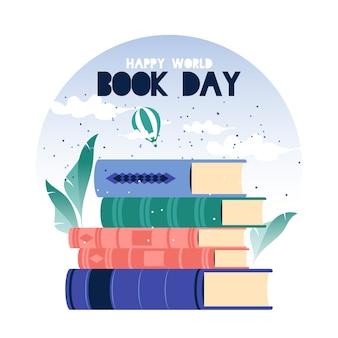 Światowy dzień książki w płaskiej konstrukcji