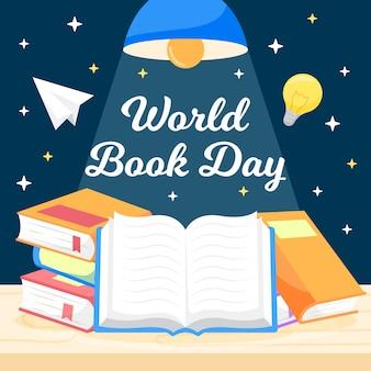 Światowy dzień książki w stylu płaskiej