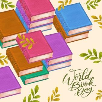 Światowy dzień książki w stylu przypominającym akwarele