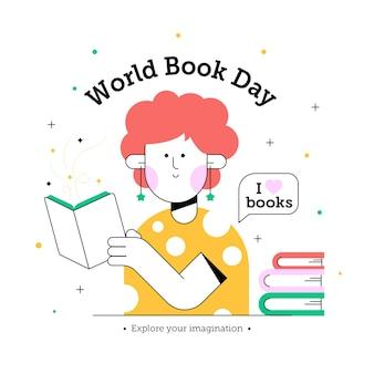 Światowy dzień książki z kobietą do czytania