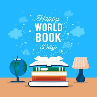 Światowy dzień książki z książkami i kulą ziemską