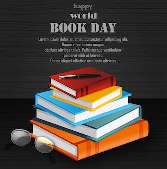 Światowy dzień książki ze stosem książek