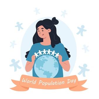 Światowy dzień ludności, kobieta trzyma girlandę papierowych mężczyzn nad planetą ziemia