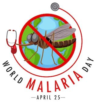 Światowy dzień malarii bez transparentu z komarami