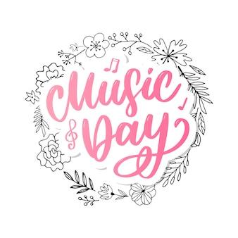 Światowy dzień muzyki napis kaligrafia szczotka logo wakacje