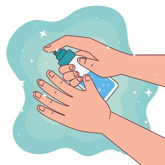 Światowy dzień mycia rąk i mycie rąk z projektem butelki z alkoholem, higieniczne mycie rąk, zdrowe i czyste
