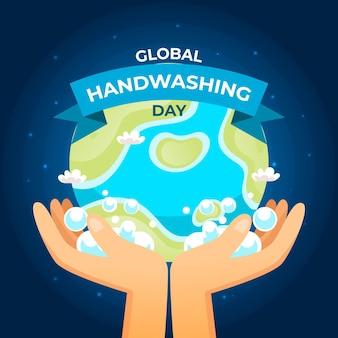 Światowy dzień mycia rąk rękami i kulą ziemską
