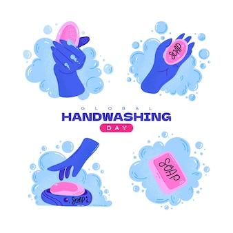 Światowy dzień mycia rąk. umyj ręce. ilustracja wektorowa zbiory.