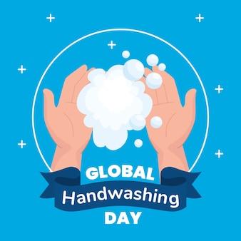 Światowy dzień mycia rąk z bańkami mydlanymi, higiena myje zdrowe i czyste