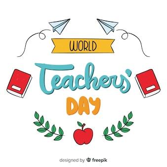 Światowy dzień nauczyciela napis tło
