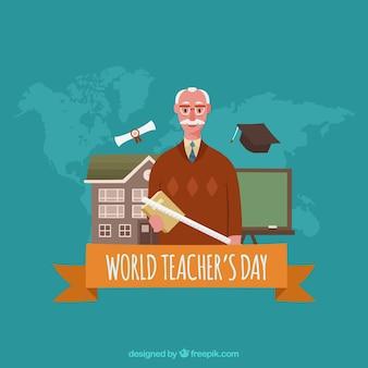 Światowy dzień nauczyciela, tło z pomarańczową wstążką