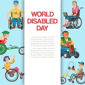 Światowy dzień niepełnosprawności, ilustracja. postać osób niepełnosprawnych w banerze dla wózków inwalidzkich, niepełnosprawne zdrowie jest nieprawidłowe