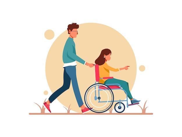 Światowy dzień niepełnosprawności. mężczyzna i kobieta na wózku inwalidzkim, chodzenie. postać kobieca w trakcie rehabilitacji po urazie lub chorobie. ilustracja postaci