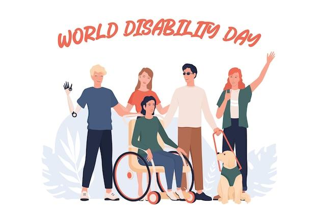 Światowy dzień niepełnosprawności. osoby niepełnosprawne stojące razem. osoby z protezą i na wózku inwalidzkim, głuchonieme i niewidome.