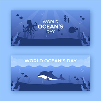 Światowy dzień oceanów banery szablon projektu