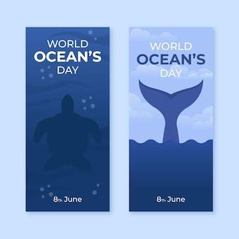 Światowy dzień oceanów banery szablon