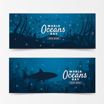 Światowy dzień oceanów banery z rekinem i roślinnością