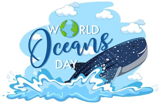 Światowy dzień oceanów ilustracja z wielorybem