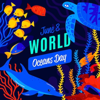 Światowy dzień oceanów ilustracji stylu