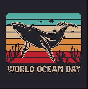 Światowy dzień oceanów o zachodzie słońca