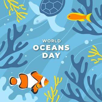 Światowy dzień oceanów płaska konstrukcja