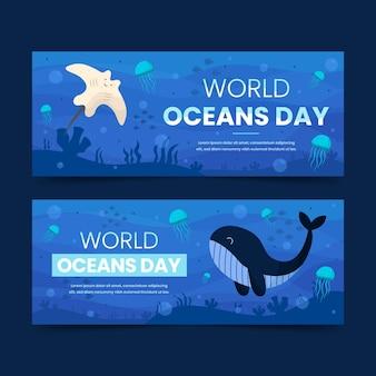 Światowy dzień oceanów transparent ręcznie rysowane projekt