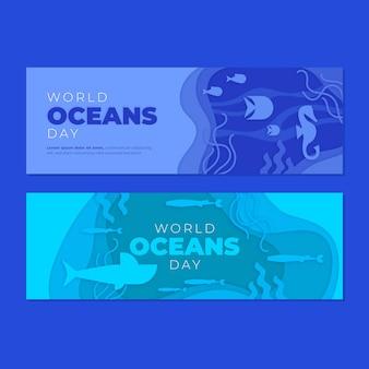 Światowy dzień oceanów transparent w stylu papieru