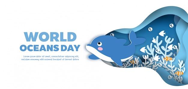 Światowy dzień oceanów transparent z cute delfina w stylu cięcia papieru.