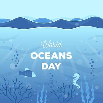 Światowy dzień oceanów w płaskiej konstrukcji
