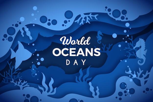 Światowy dzień oceanów w stylu papierowym z konikiem morskim