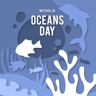 Światowy dzień oceanów w stylu papierowym