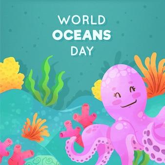 Światowy dzień oceanów w stylu przypominającym akwarele