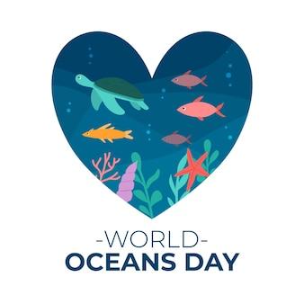 Światowy dzień oceanów z rybami i żółwiem w sercu