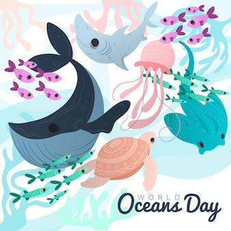 Światowy dzień oceanów z stworzeniami morskimi