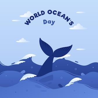 Światowy dzień oceanów z wielorybami i falami