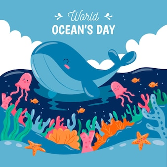 Światowy dzień oceanów z wielorybami i meduzami